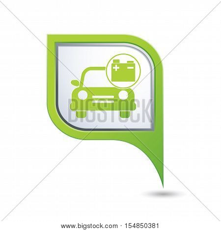 Car service. Car with accumulator icon on green map pointer