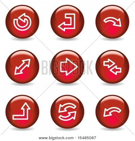 Arrows web icons, red glossy series