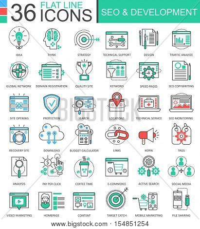 Vector SEO and development modern color flat line outline icons for apps and web design