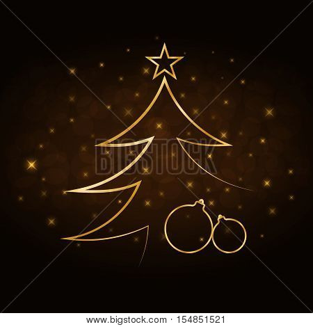 Merry Christmas celebration abstract background gold Xmas balls. Decorative golden bauble star. Simple sketch for card greeting. Shine light Happy New Year holiday decoration Vector illustration