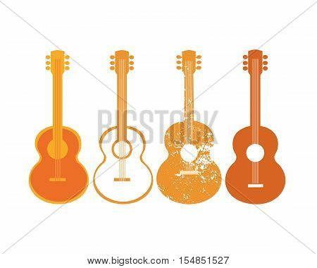 Template for Design Poster. Acoustic guitar silhouette set. Idea to announce Live Music event with guitars. Festival Acoustic Music promotion advertisement background. Vector illustration.
