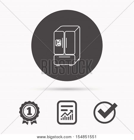 American fridge icon. Refrigerator with ice sign. Report document, winner award and tick. Round circle button with icon. Vector