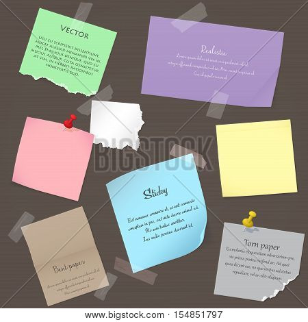 Set of paper banner notes stickers. Pieces of torn colorful blank note color paper. Various color paper sheets, note paper stuck by sticky tape