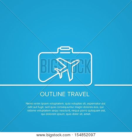 Icon airplane and suitcase. The concept of travel and vacation. Outline. minimal.