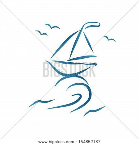 Nautic brush style drawing. Hand drawn scetch of stylized abstract sailboat on sea wave. Idea for design element of advertisement poster banner t-shirt print internet site icon. Vector illustration.