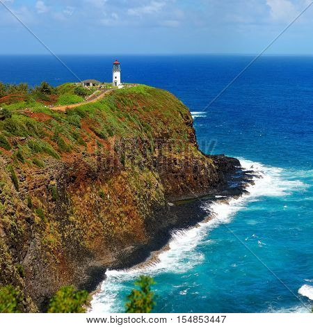 Kilauea Lighthouse Bay On A Sunny Day In Kauai