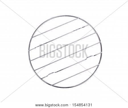 Round stainless steel trivet isolated on white background