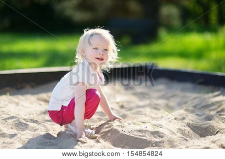 Adorable Little Girl Playing In A Sandbox