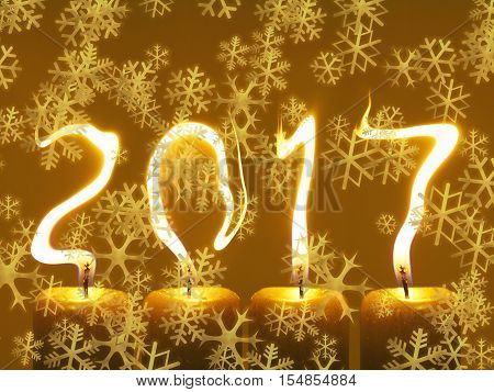 Happy new year 2017. Modified photo of four candles. Flames write numbers 2017, snowflakes