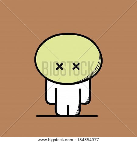 Cute sad man looks sick and ill on the brown background. Disease and illness - cartoon vector illustration.