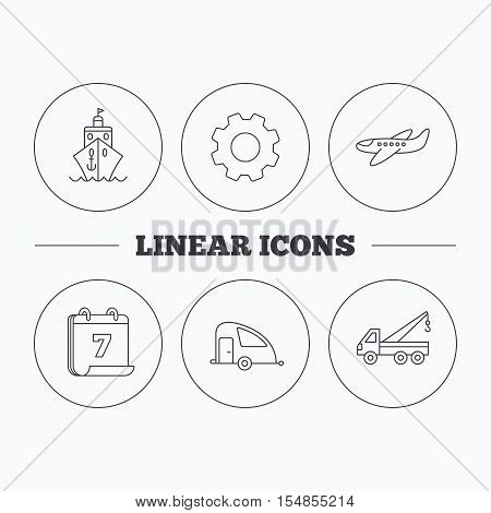 Transportation icons. Cruise, airplane and van linear signs. Evacuator flat line icon. Flat cogwheel and calendar symbols. Linear icons in circle buttons. Vector