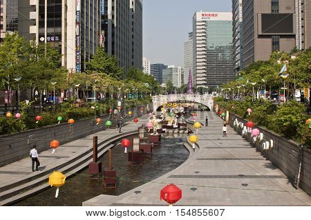 Seoul Korea - May 22 2015: Cheonggyecheon Stream Seoul South Korea - Cheonggyecheon is an 11 km long modern stream that runs through downtown Seoul.
