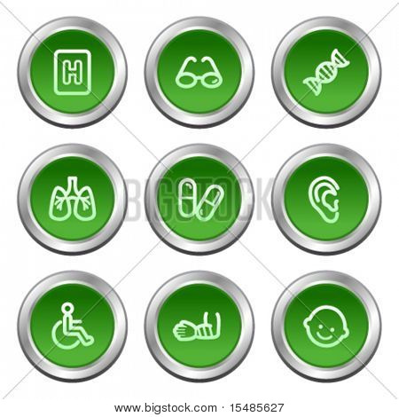 Medicine web icons set 2, green circle buttons series