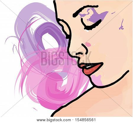 vector isolated woman face on abstract background