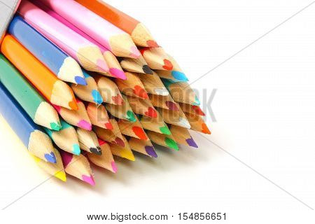 Close up view of coloured pencil tips