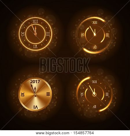 Happy New Year clocks set background. Magic gold clock countdown five minute time. Golden decoration for card greeting. Christmas design shiny sparkle. Symbol wish celebration Vector illustration