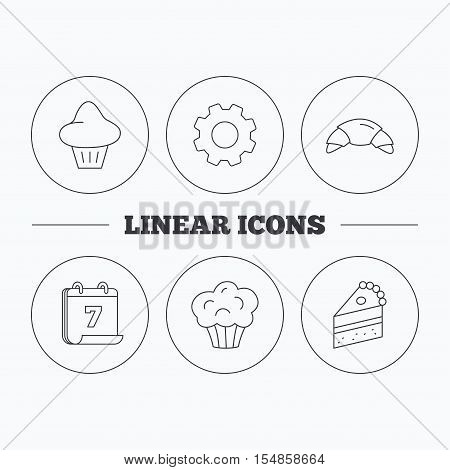 Croissant, brioche and piece of cake icons. Sweet muffin linear sign. Flat cogwheel and calendar symbols. Linear icons in circle buttons. Vector
