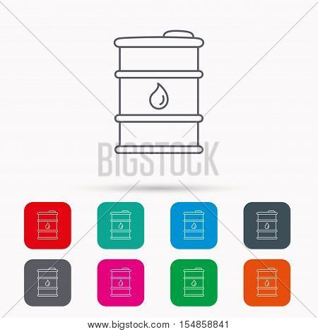 Barrel of oil icon. Cask with water drop sign. Fuel symbol. Linear icons in squares on white background. Flat web symbols. Vector