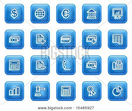 Banking web icons, blue square buttons with dots