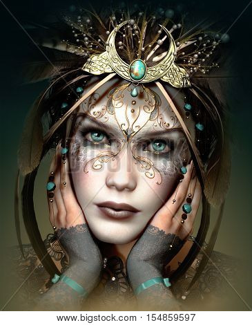 3d computer graphics of a portrait of a girl with headgear and makeup in fantasy style