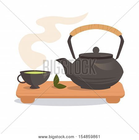 Japanese tea ceremony. Vector isolated illustration on a white background. Illustrations for cooking site, menus, books.