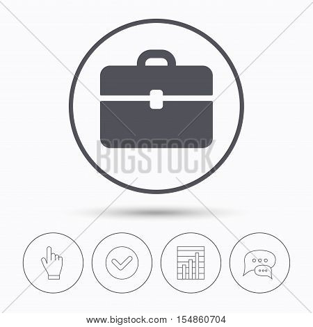 Briefcase icon. Diplomat handbag symbol. Business case sign. Chat speech bubbles. Check tick, report chart and hand click. Linear icons. Vector