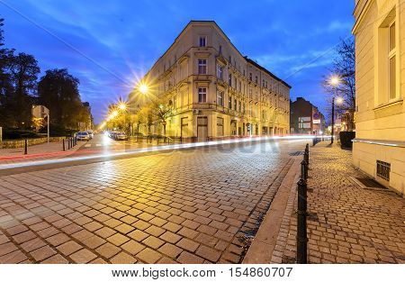 Vintage architecture in Gliwice Poland in the evening.