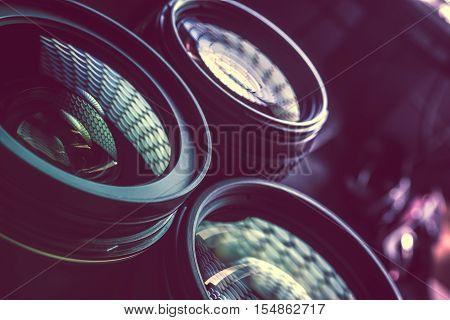 Pro Photography Lenses Closeup Photo. Nano Coating Lens Glasses. Photography Technology