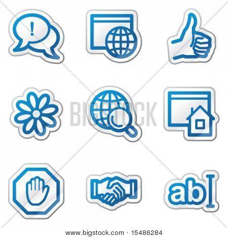Internet web icons, blue contour sticker series