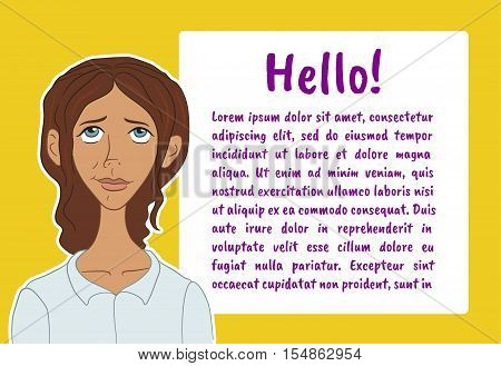 Banner with boring people. Vector illustration character with bubble talk. Vector quote for colorful web banners, web sites, printed materials, infographics, startup, marketing. Girl says - hello
