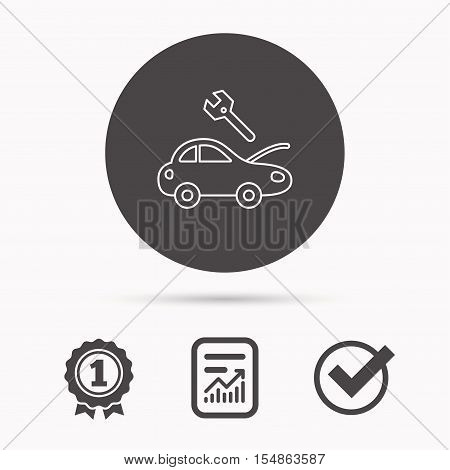 Car service icon. Transport repair with wrench key sign. Report document, winner award and tick. Round circle button with icon. Vector