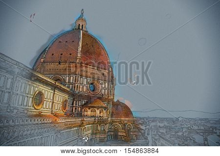 The Basilica di Santa Maria del Fiore Basilica of Saint Mary of the Flower in Florence, Italy. Modern painting, background illustration, beautiful picture, creative image.