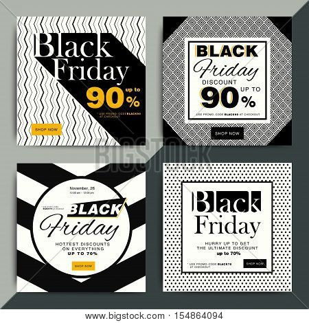 Black Friday Creative Social Media Sale Web Banners Design For Online Shop Or Store. Trendy Geometri