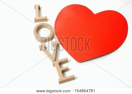 Words of love next ot the shape of a heart for Valentines day