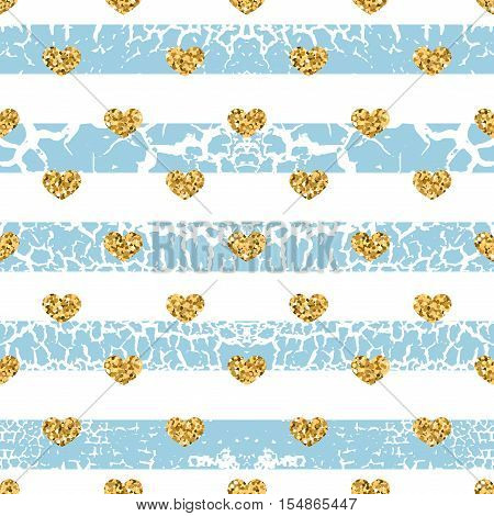 Gold grunge hearts craquelure stripes seamless pattern. Golden glitter confetti. White and blue background. Love Valentine day wedding design card wallpaper wrapping textile Vector Illustration