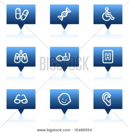 Medicine web icons set 2, blue speech bubbles sticker series