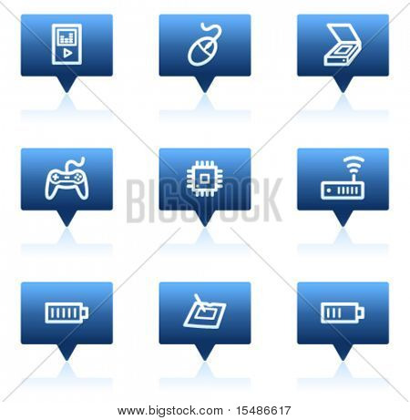 Electronics web icons set 2, blue speech bubbles sticker series