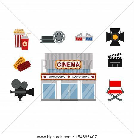 Icons for media cinema symbols vector illustration. Isolated cinema symbols entertainment design camera sign. Director chair reel, ticket theater cinema symbols cinematography set.