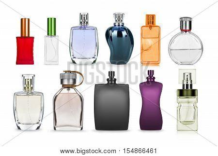 set of perfume bottle isolated on white background