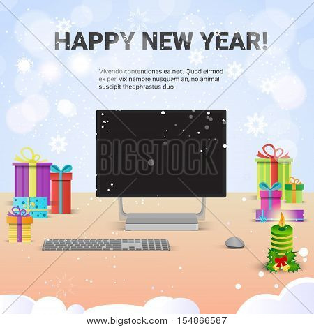 Decorated Workplace Computer Happy New Year Internet Christmas Sale Decoration Flat Vector Illustration