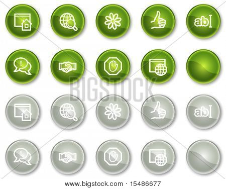 Internet communication web icons, green and grey circle buttons series