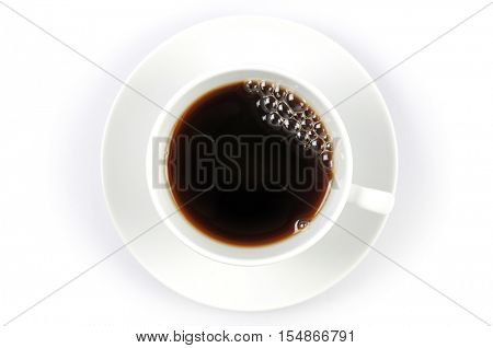Top shot of a cup of coffee
