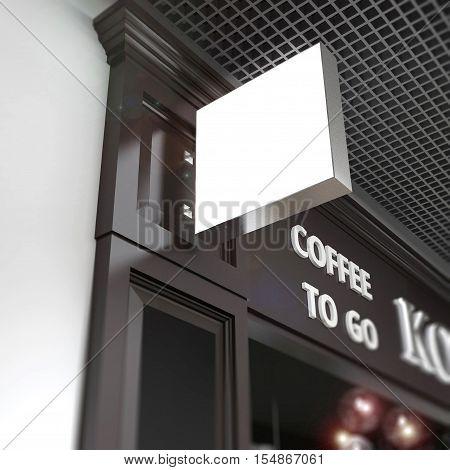 Squard signboard mock-up on blurred cafe fasad background.3d model illustration render.