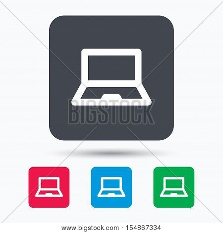 Computer icon. Notebook or laptop pc symbol. Colored square buttons with flat web icon. Vector