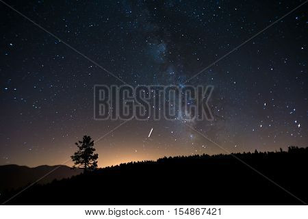 Night landscape with vibrant Milky Way at mountains on Font-Romeu Pyrenees'.