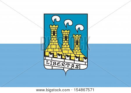 Flag of City of San Marino is the capital city of the Republic of San Marino. Vector