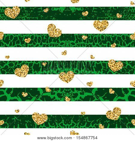Gold grunge hearts craquelure stripes seamless pattern. Golden glitter confetti. White and green background. Love Valentine day wedding design card wallpaper wrapping textile Vector Illustration