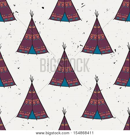 Vector Seamless Pattern Of American Indian Tipi Home With Tribal Ornament. Colorful Tepee Wigwam In