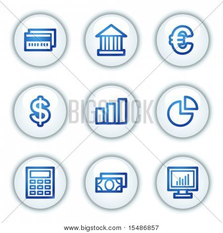 Finance web icons set 1, white circle buttons series