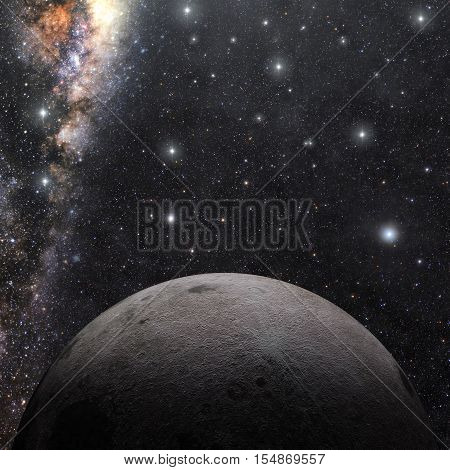 A computer graphic rendering of the Moon. 3D rendering.